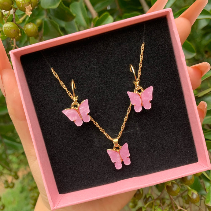 Butterfly Necklace & Earrings Set