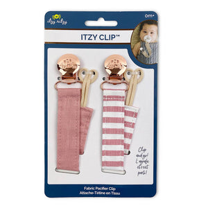 Itzy Ritzy Linen Pacifier Clips // Pink