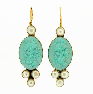 Carved cameo of floral art nouveau style motif with freshwater pearls set in vermeil