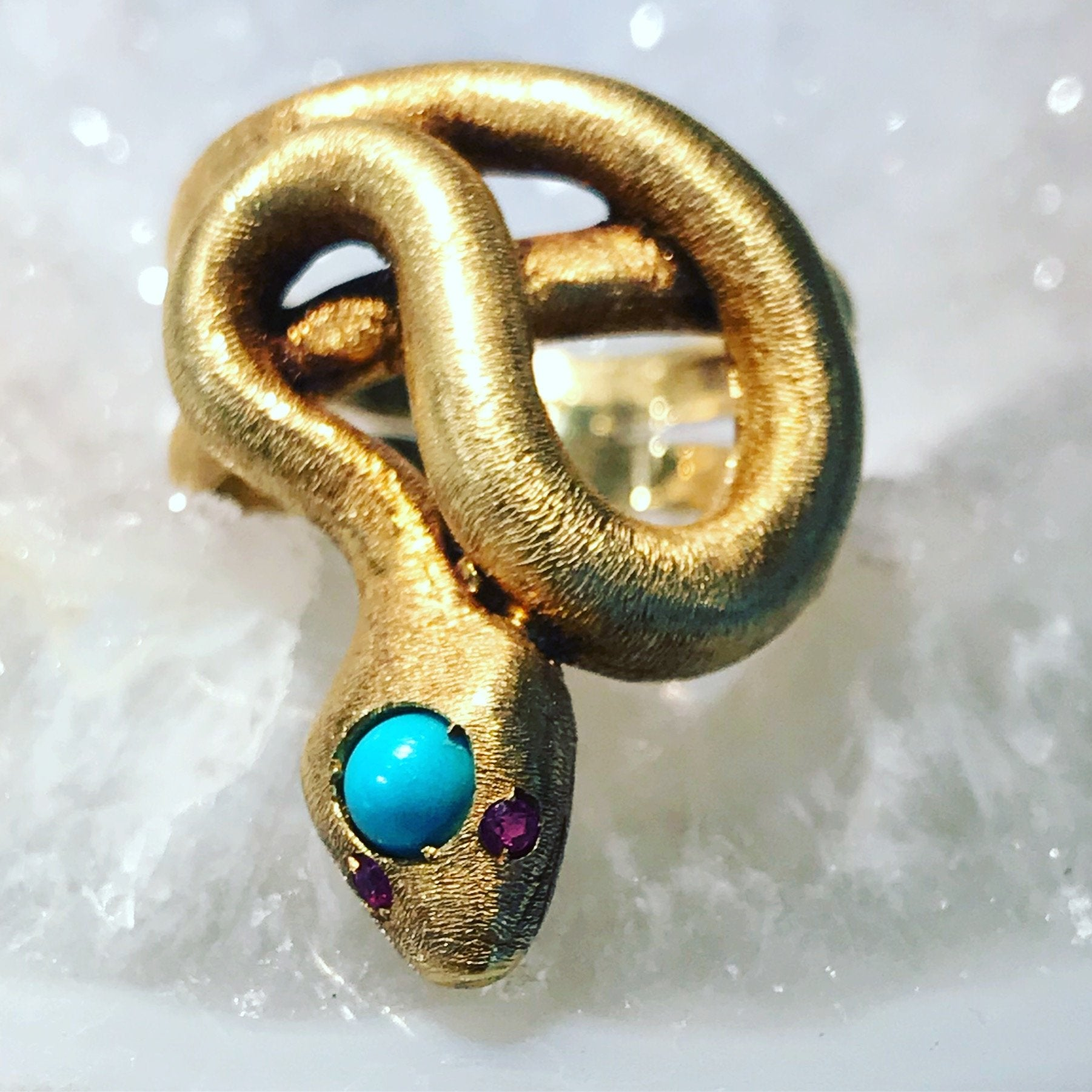 Vintage Snake ring with turquoise and ruby