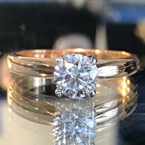 The Tiffany: Round Brilliant Cut Diamond on and 18k Rose Gold Band