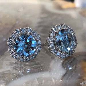 18ct white gold set aquamarine and diamond cluster stud earrings