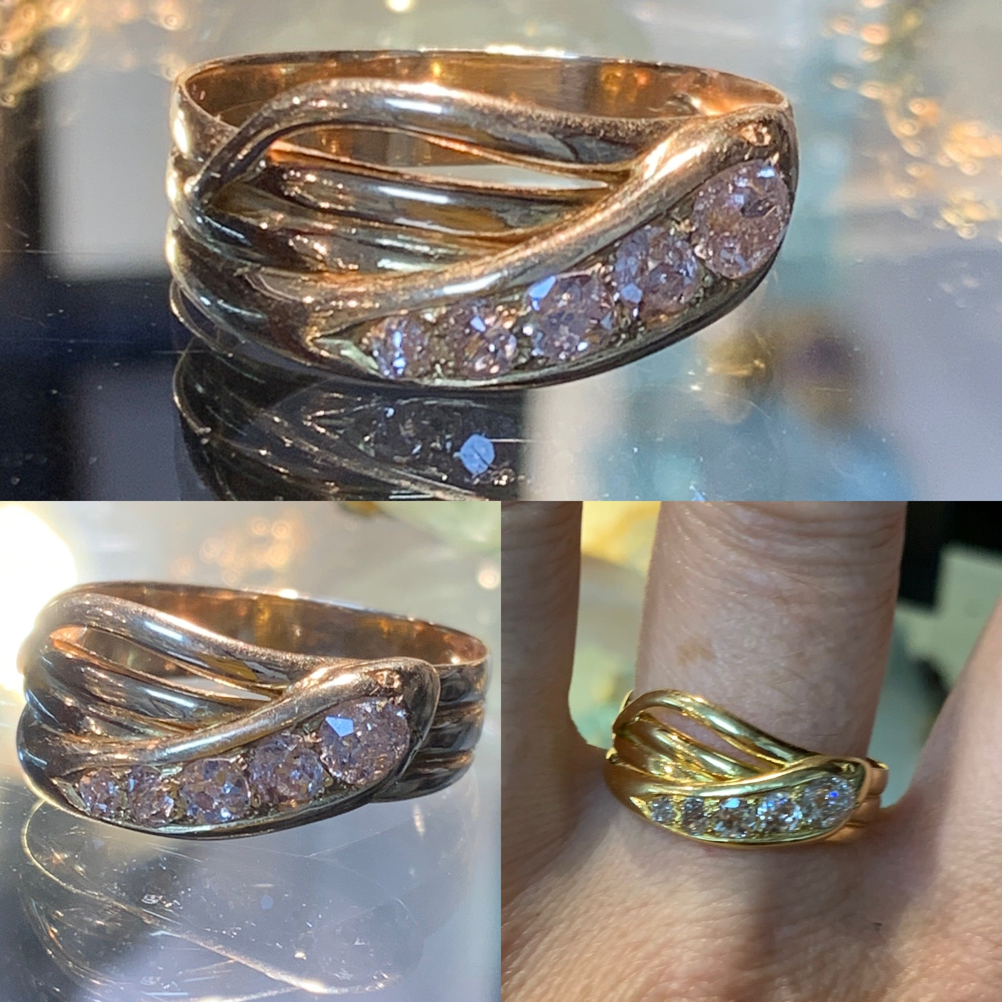 Old Cut Diamond Snake Ring