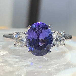 Tanzanite and Diamond Three Stone