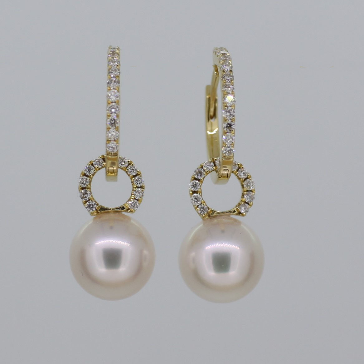 Pearl and Diamond Hoops