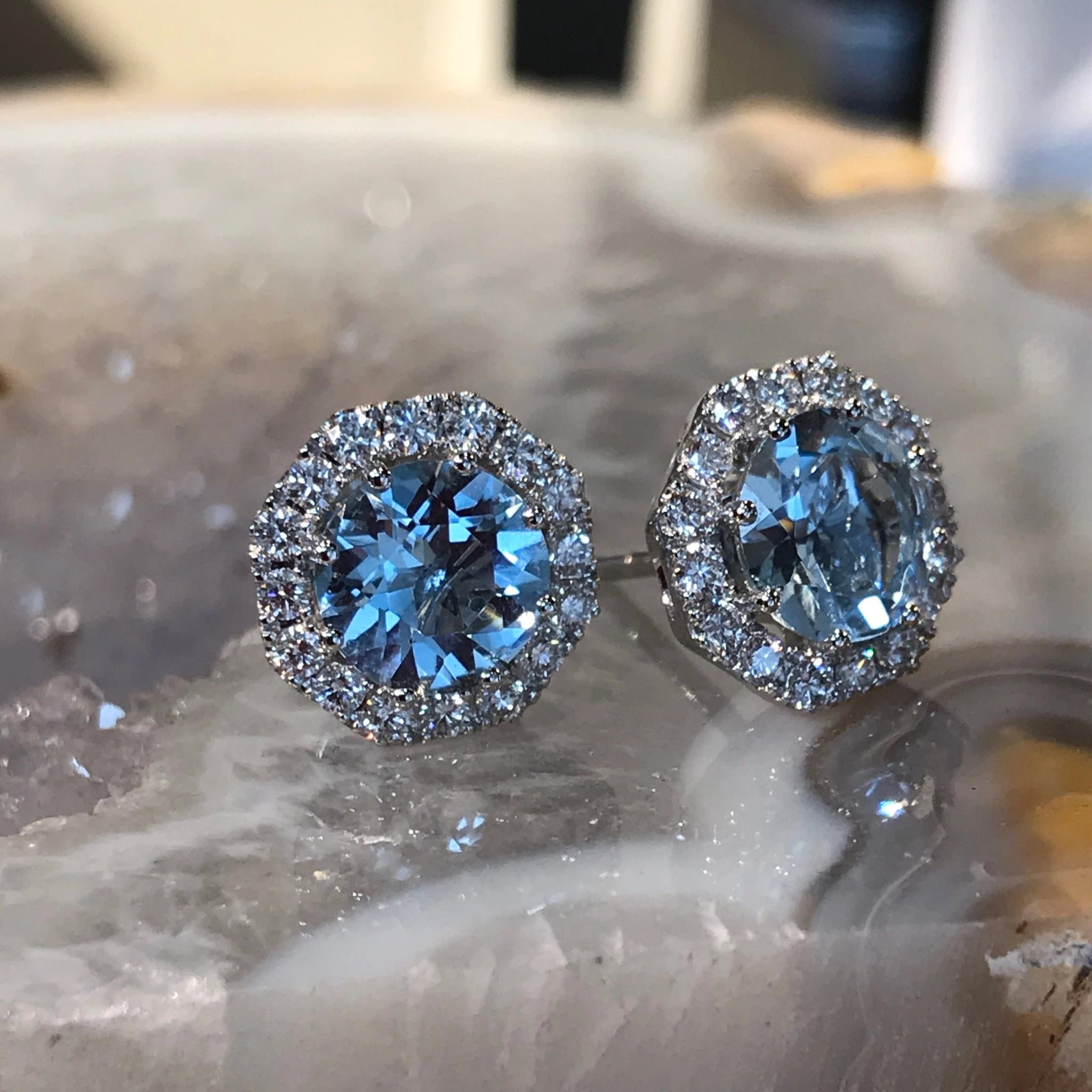 Aqaumarine Halo Earrings
