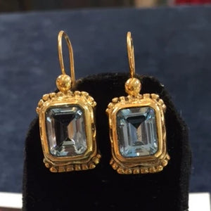 Emerald Cut Aqua Earrings
