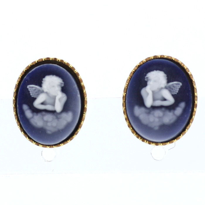 Dreaming Cherub Cameo Earrings