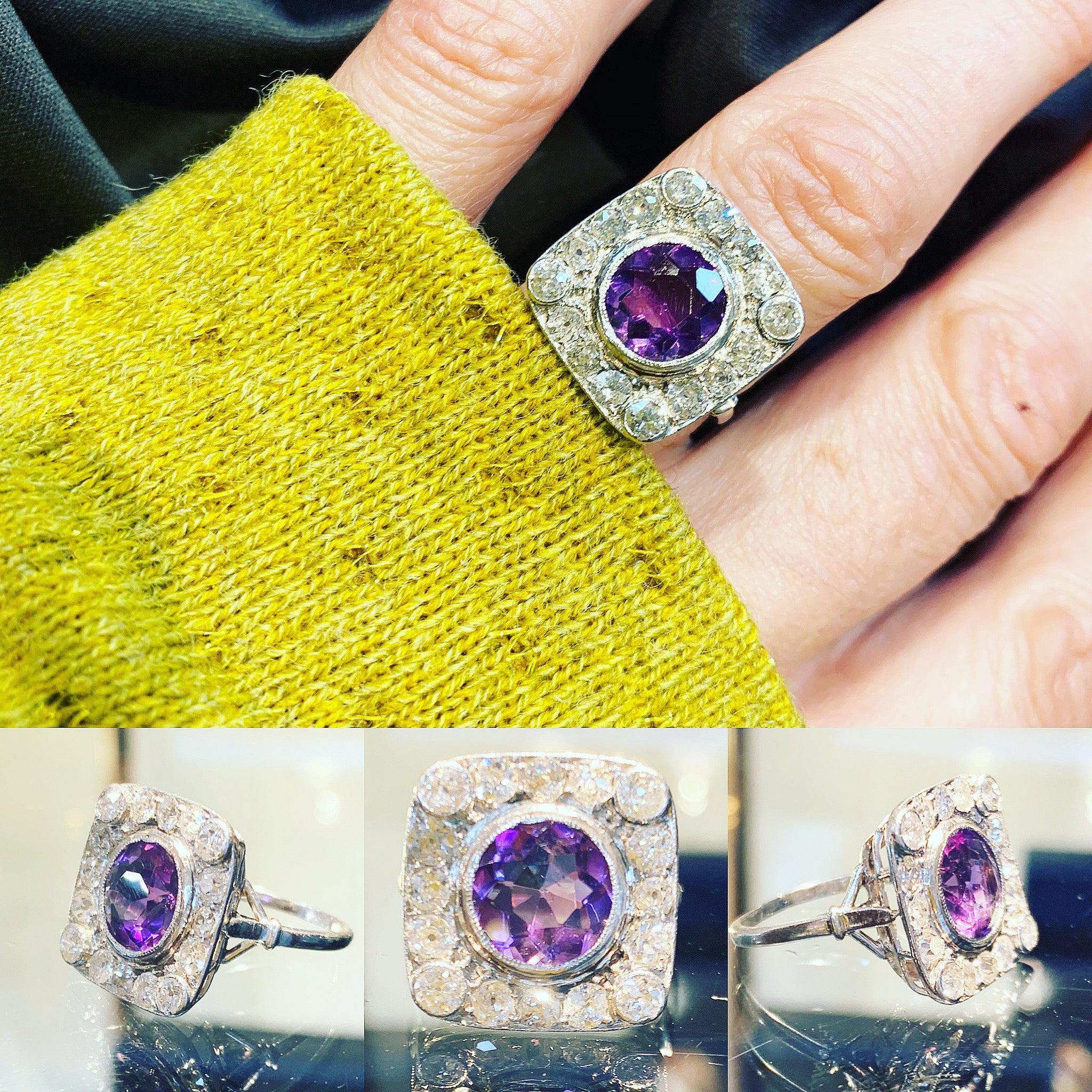 Edwardian Amethyst and Old Cut Diamonds