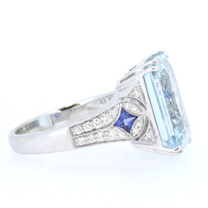 Aquamarine with Sapphire and Diamond Shoulders