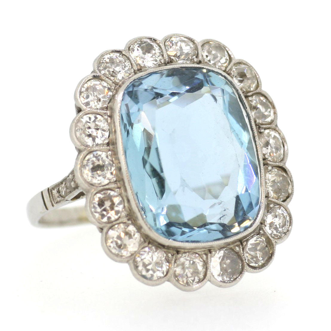 Vintage Aquamarine & Old Cut Diamond Cluster Ring in platinum