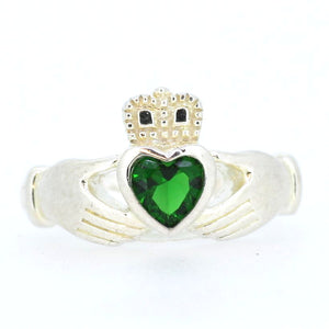 Green Stone Silver Claddagh