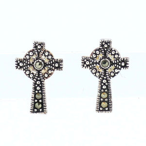 Marcasite Celtic Cross Earrings