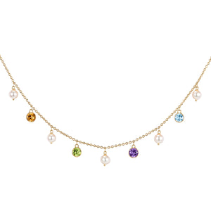 Pearl with Coloured Stones Necklace