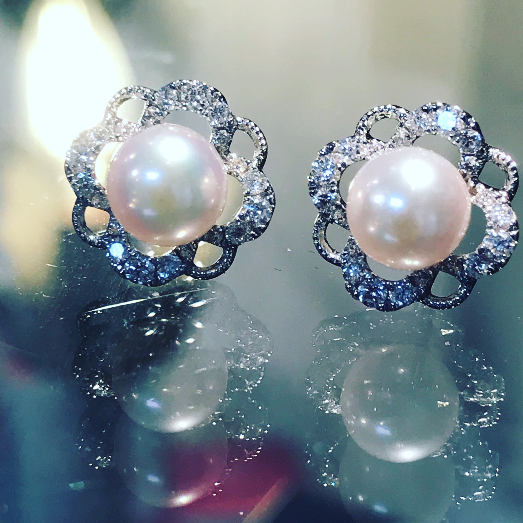 Vintage Style Pearl and Diamond Earrings