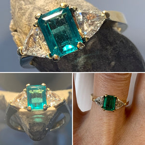 Emerald with Trilliant Cut Diamonds