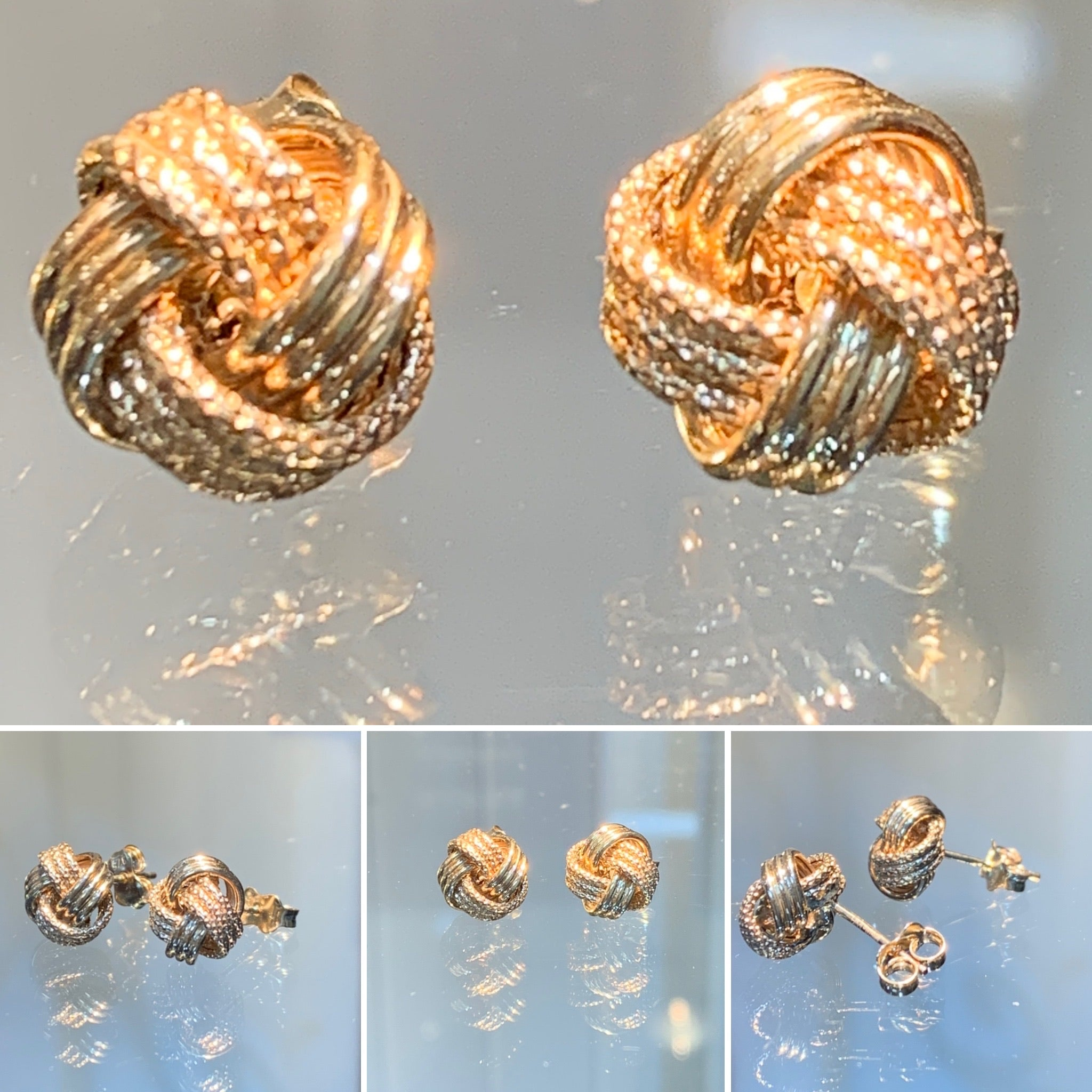 Textured Gold Knot Earrings  9.5 mm