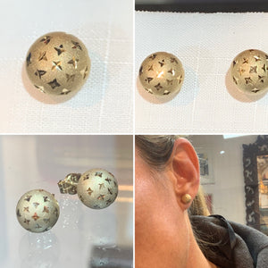 Textured Gold Ball Stud Earrings