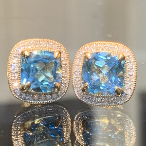 Blue Topaz & Diamond Studs