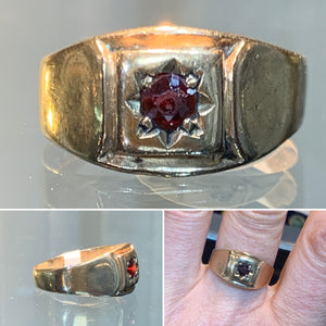 Garnet & Gold Signet Ring