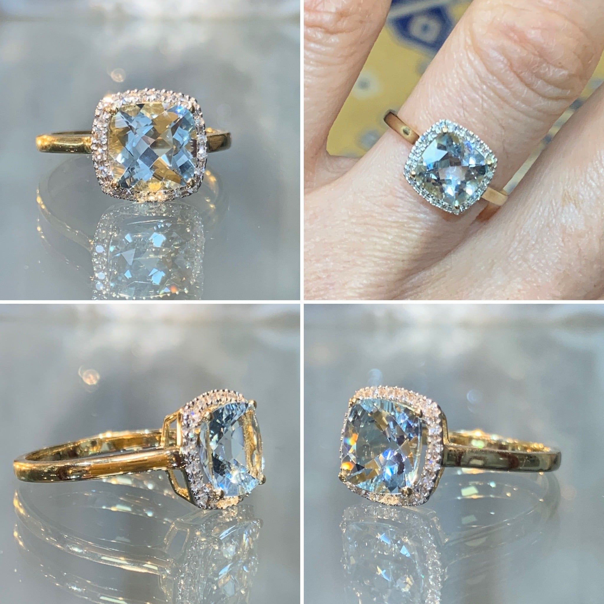 Aquamarine Diamond Ring on Gold