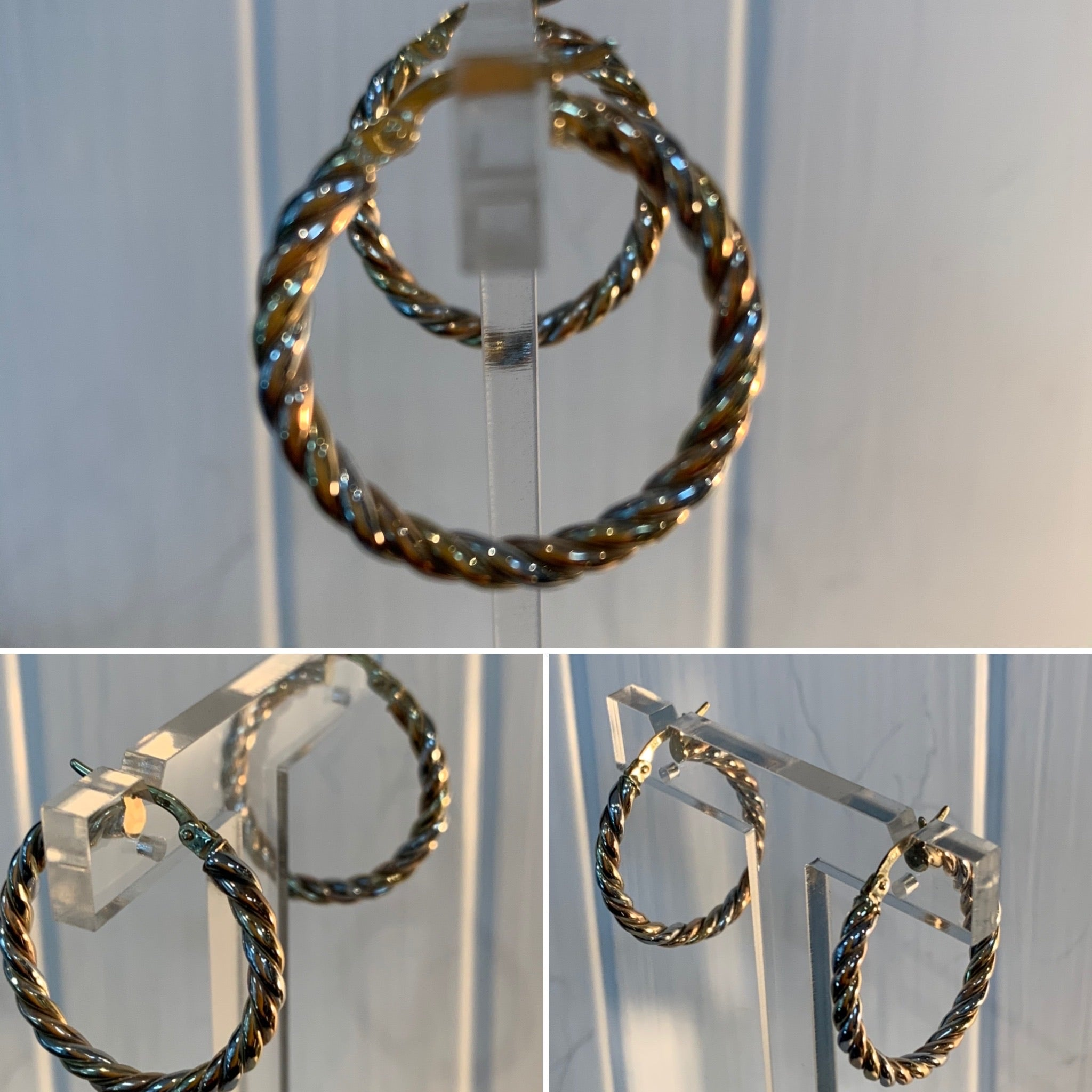 Three Colour Gold Hoops