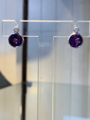 Amethyst & Diamond Studs
