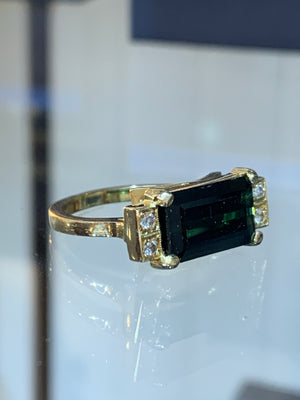 Green and Gold Tourmaline Ring