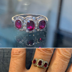 Triple Burmese Natural Ruby Halo