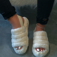 Plush Slippers 2020 Flat Bottom Sandals Open Casual - godress