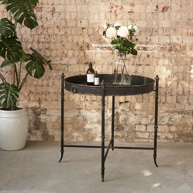 Distressed Black Iron Tray Table