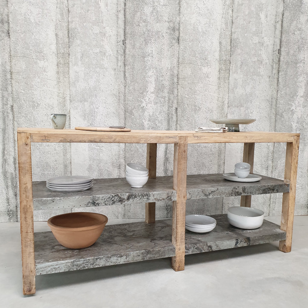 Recycled Wood & Metal Kitchen Island