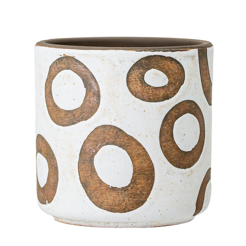 Circles White Terracotta Pot