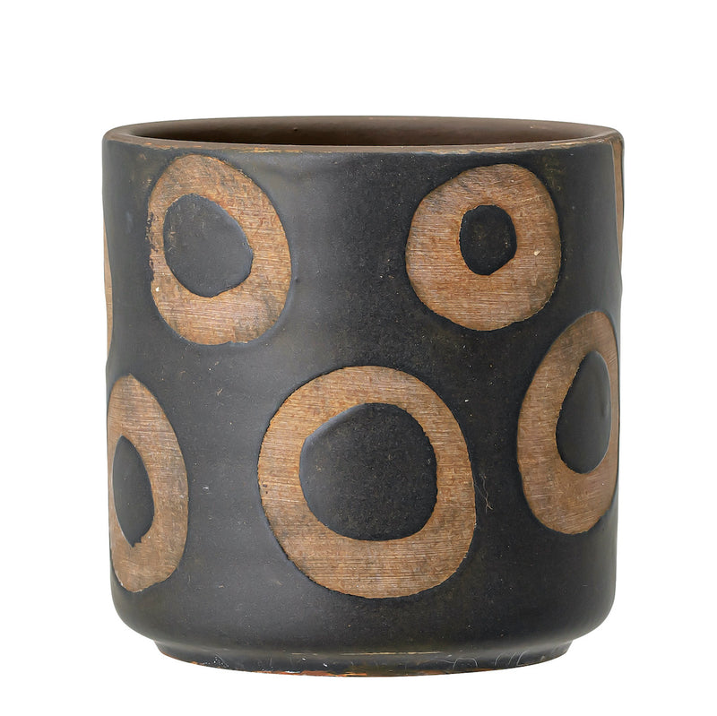 Circles Black Terracotta Pot