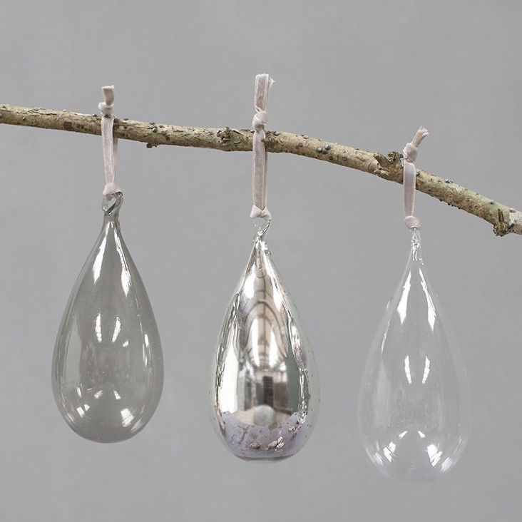 Set of 3 Tikari Glass Drop Bauble