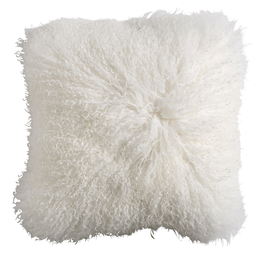 White Tibetan Lambskin Cushion