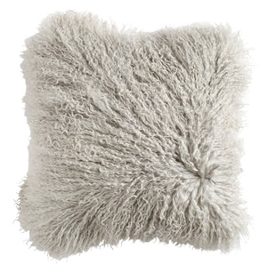 Pale Grey Tibetan Lambskin Cushion