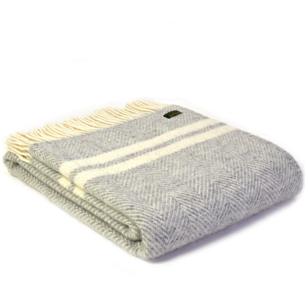 Two Stripe Grey/Cream Throw