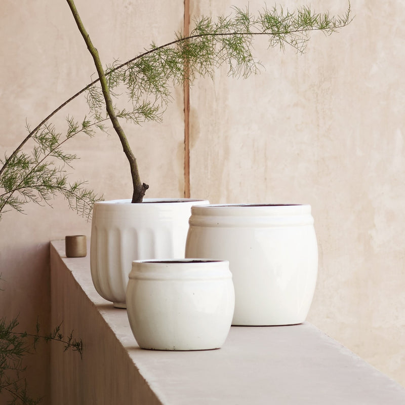 Alto White Glazed Planter
