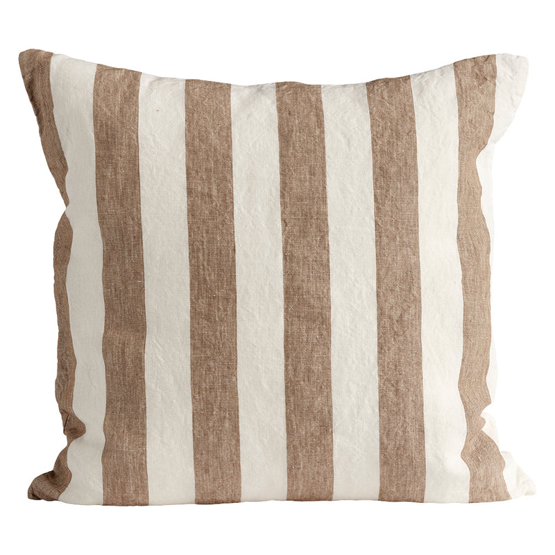 Walnut Striped Linen Cushion