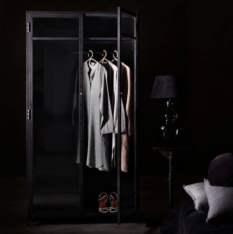 Black Iron Wardrobe Cabinet