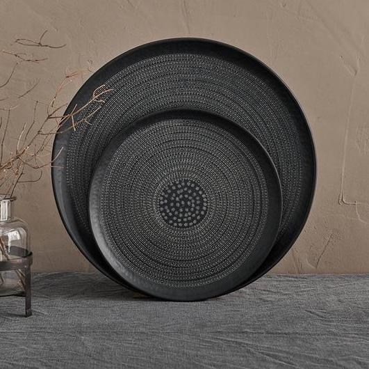 Handcrafted  Black Aluminium Tray | Design Vintage