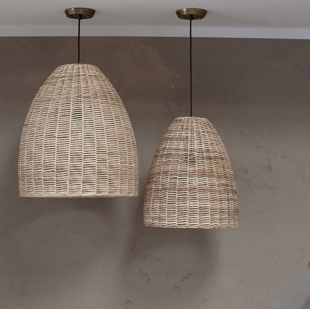 dome natural wicker pendant lamps | Design Vintage
