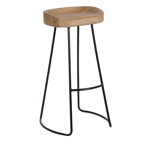 Industrial Oak Top Stool