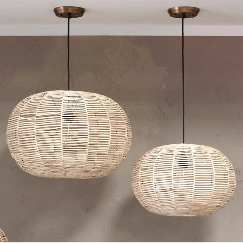 Dome Round Wicker Pendant