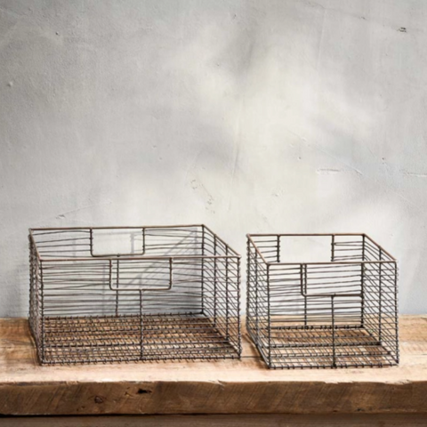 Aged Brass Storage Baskets