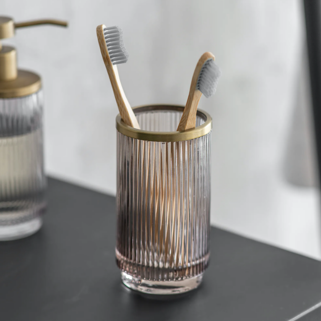 Brass + Glass Toothbrush Holder