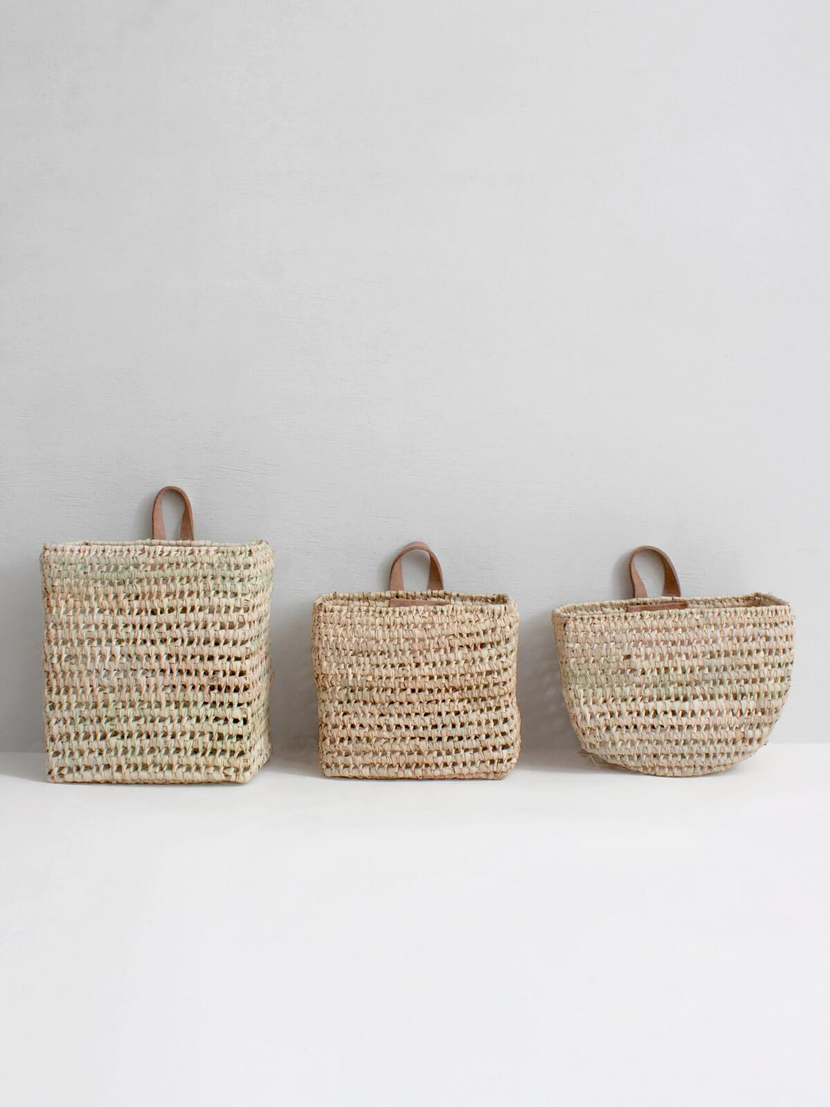 Set Of 3 Mini Wall Baskets Design Vintage Moroccan Wall Basket