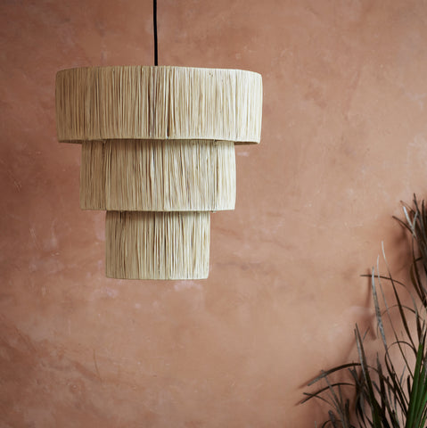 Large Tiered Raffia Lampshade