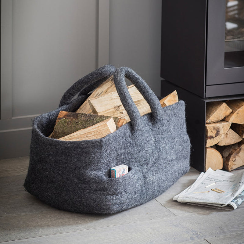 Handmade Grey Wool Basket